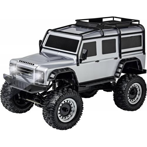 LAND ROVER DEFENDER Rock Crawler 4WD 1:8, stříbrná, 2,4 Ghz, LED