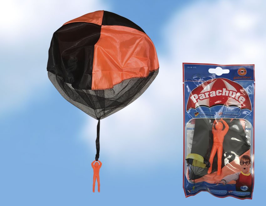 Házející padák s parašutistou PARACHUTE, různobarevné, 46 cm