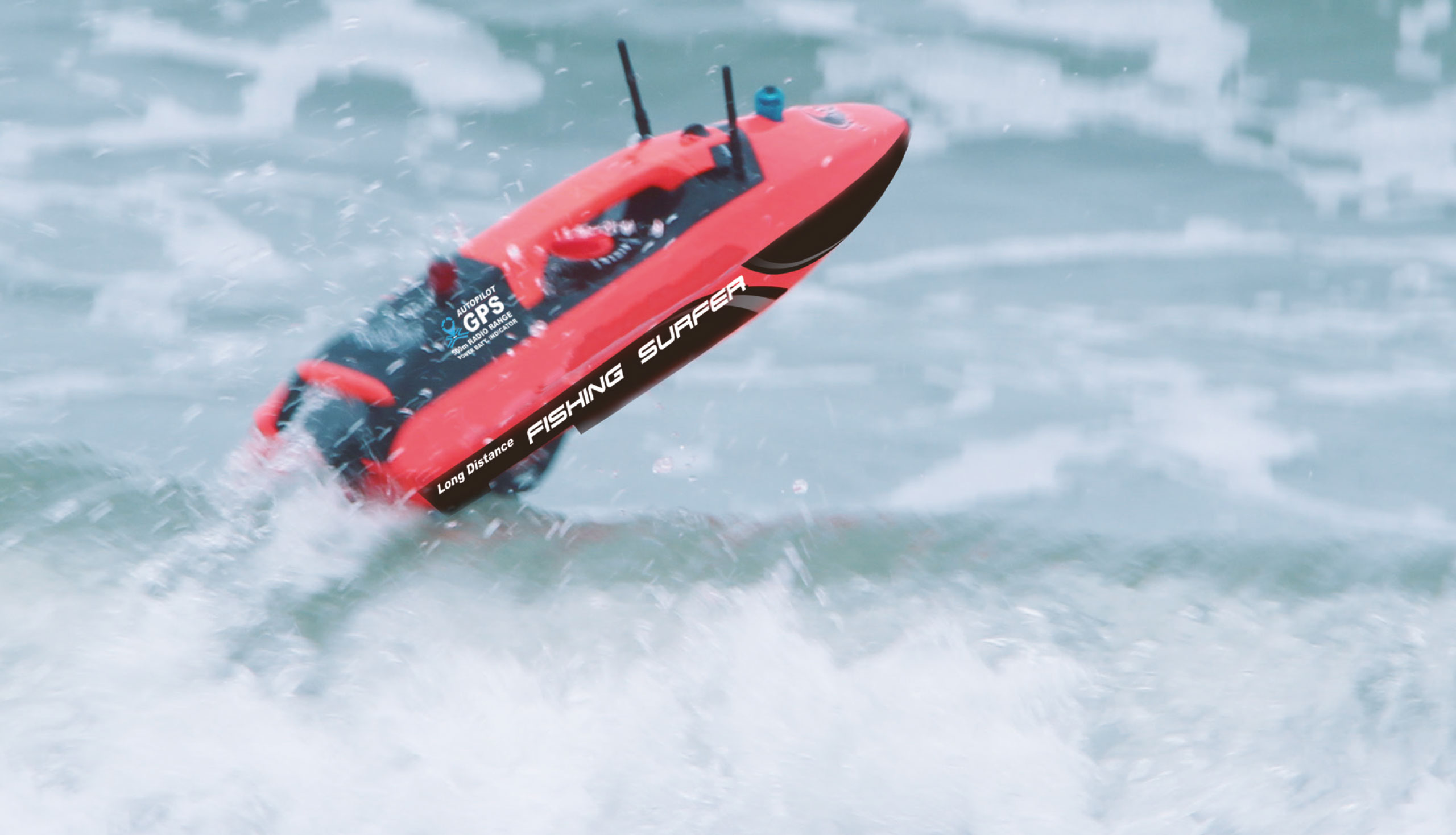 FISHING SURFER NA VLNY 1M. S DOSAHEM 500 METRŮ, GPS, brusless, pro dovoz háčku a zábavu