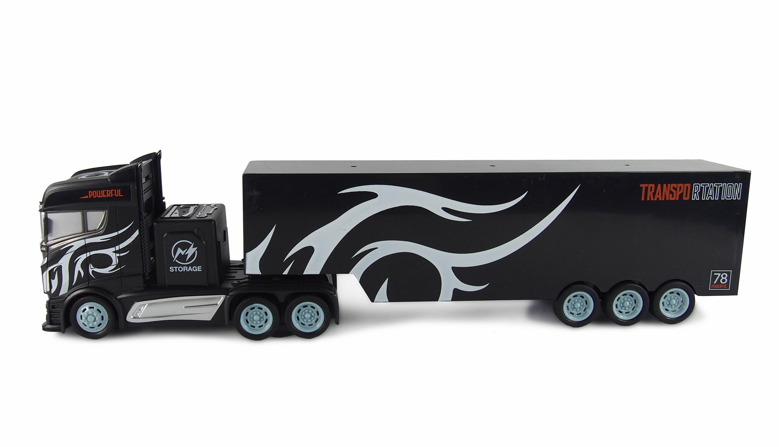 Kamion s velkým návěsem 2WD, 1:16, bohaté příslušenství, semafor, radar, RTR