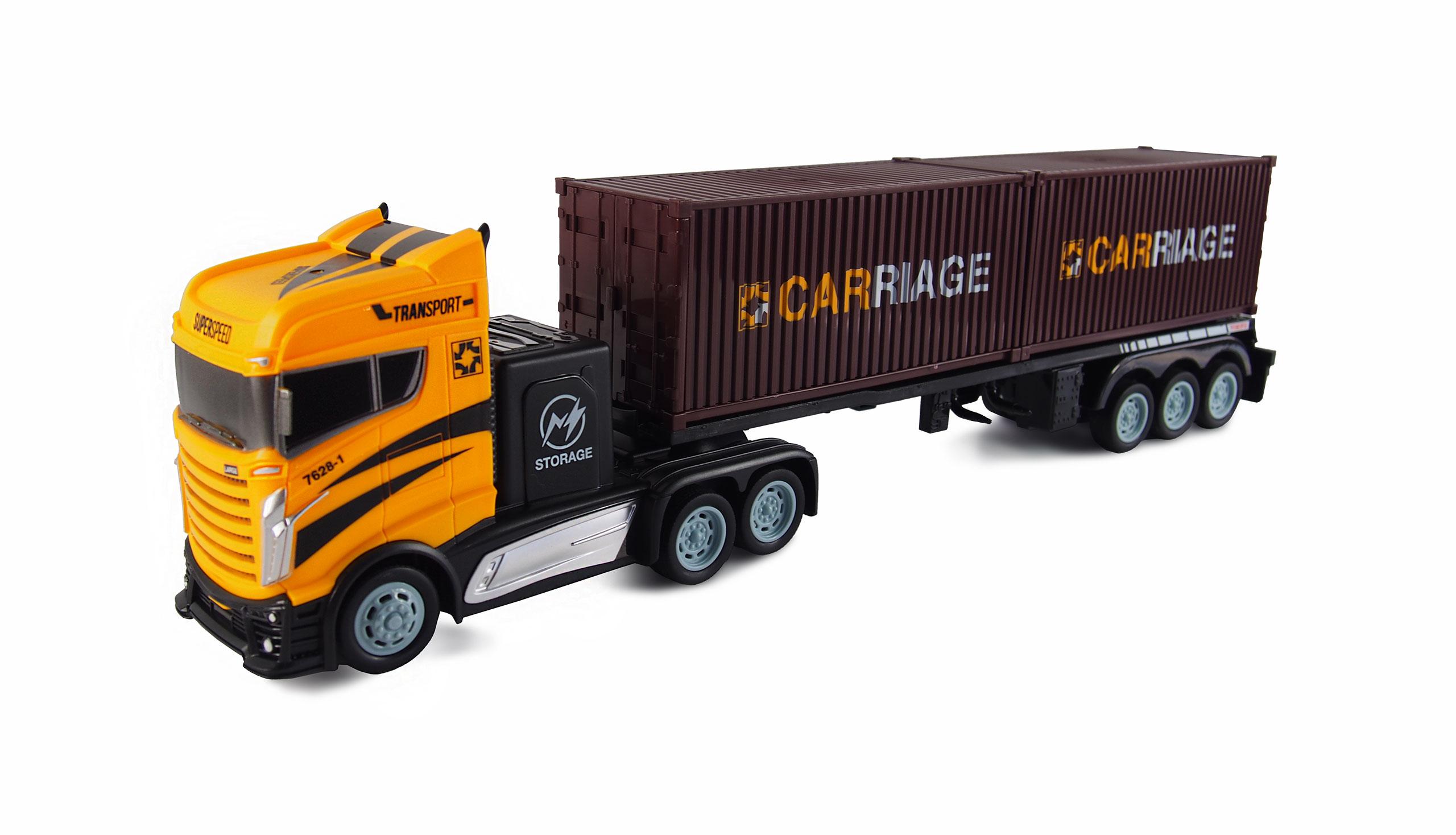 Kamion s kontejnerovým návěsem 2WD, 1:16, bohaté příslušenství, semafor, radar, RTR