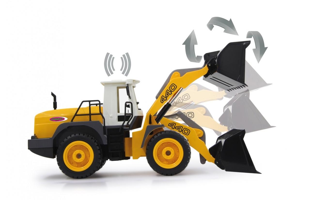 WHEEL LOADER 2WD kolový nakladač, 1:20, zvukový modul, LED, funkční lžíce, RTR