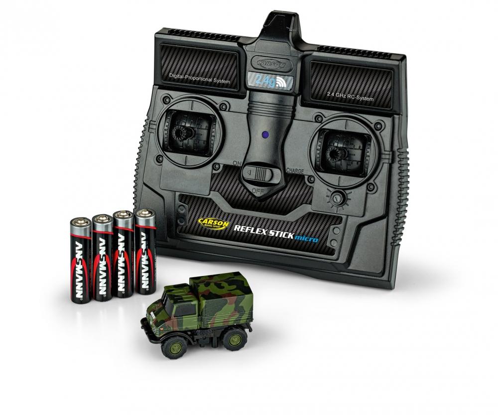 CARSON MB Unimog U406 Camouflage 1:87, LED, plně proporcionální, 100% RTR