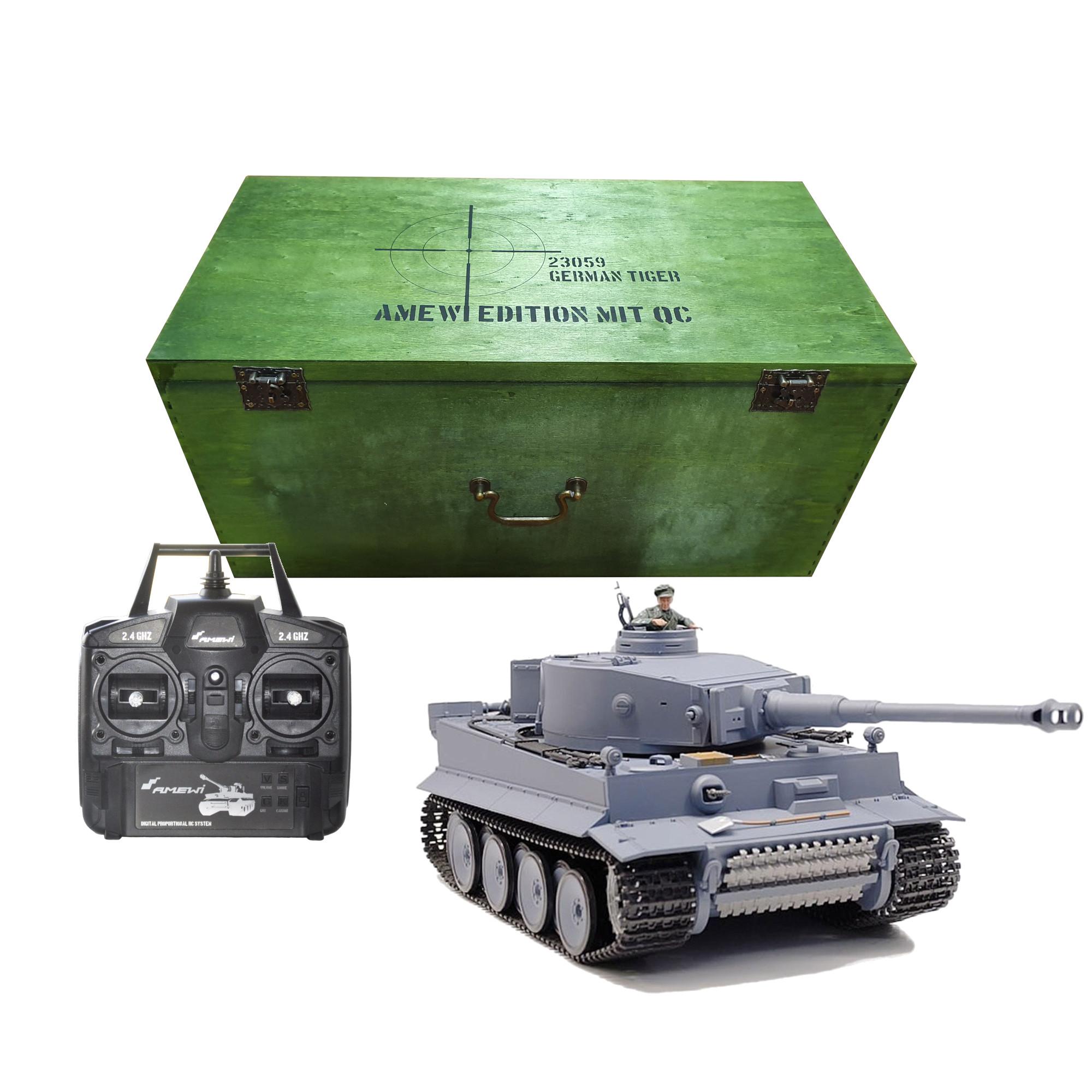 Tank TIGER I BB, 1:16, 2.4 GHz, zvuk, kouř, v dřevěném kufru, RTR