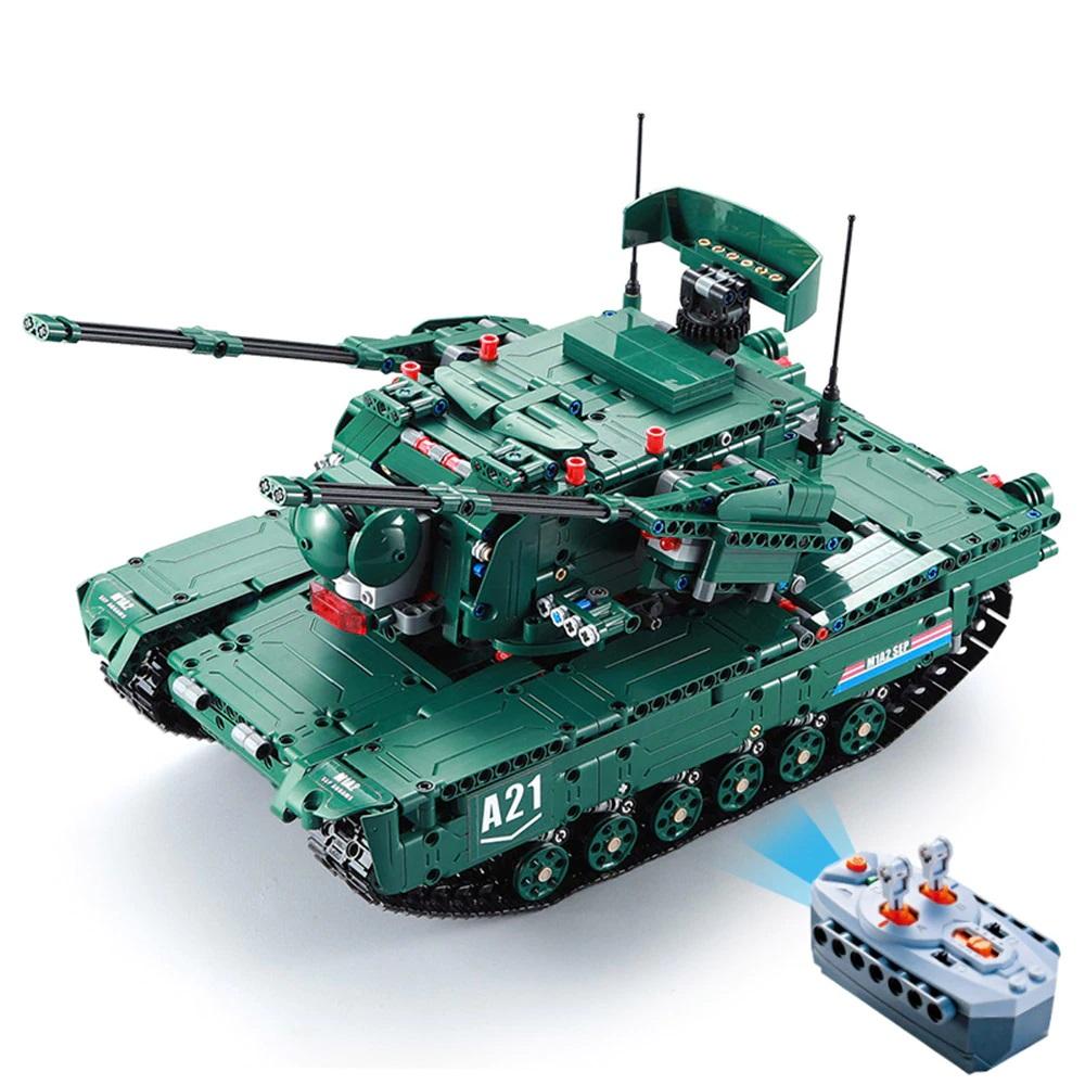 CaDA DETECH M1A2 Abrams 2v1 RC stavebnice, funkční dělo, DEMO režim, 1498 dílů