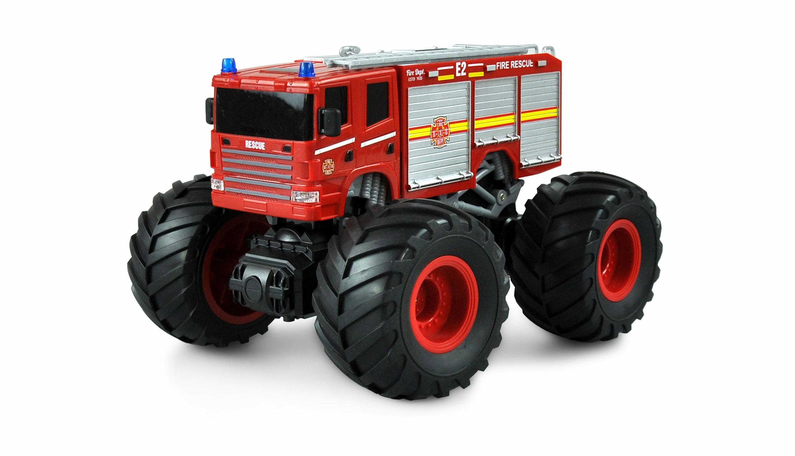 HASIČI MonsterTruck 2WD 1:18, LED, zvukový modul, offroad pneu, až 15 km/h, RTR