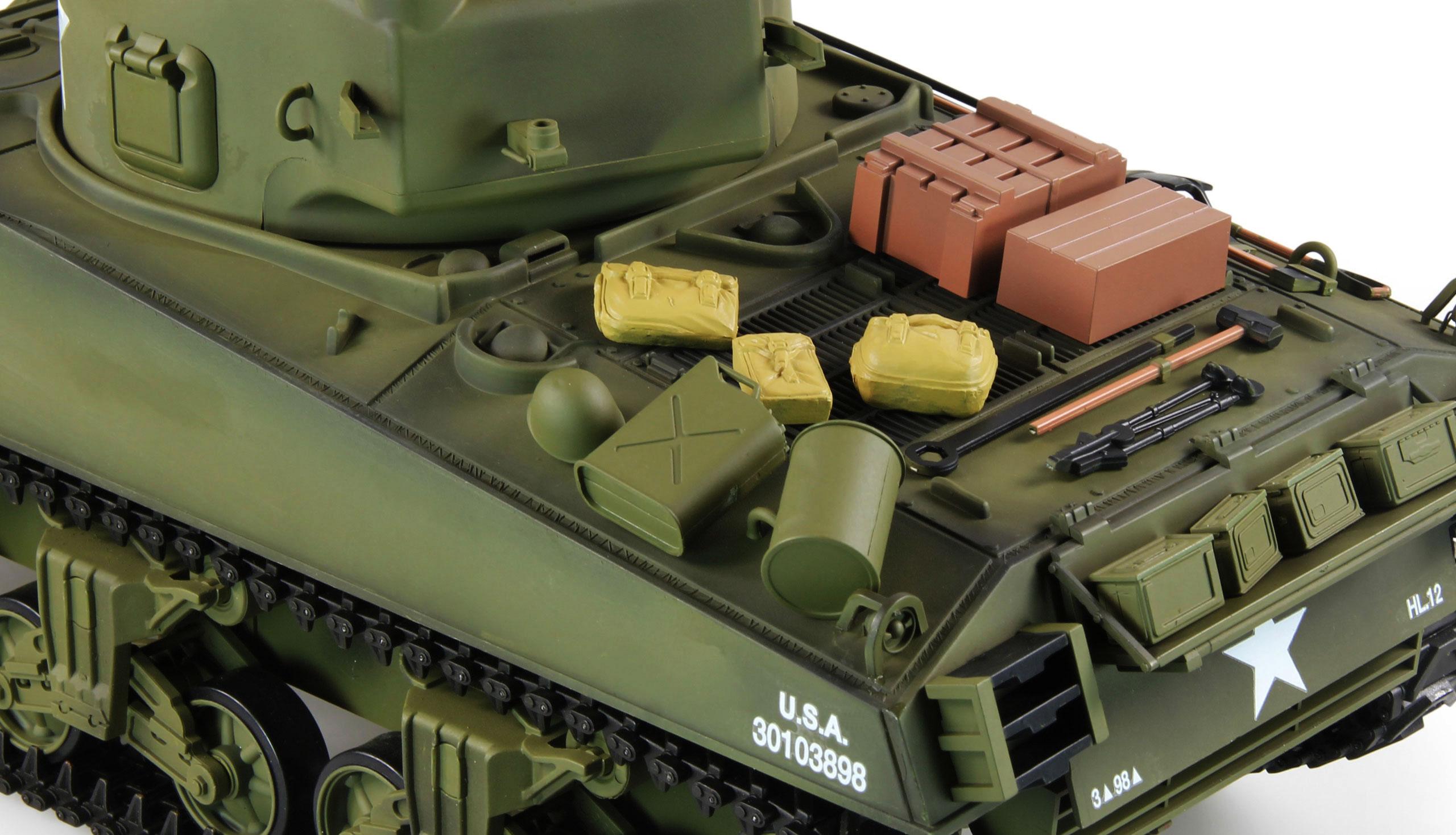 Tank SHERMAN M4A3 BB+IR, 1:16, 2.4 GHz, zvuk, kouř, kovovvé převodovky, RTR
