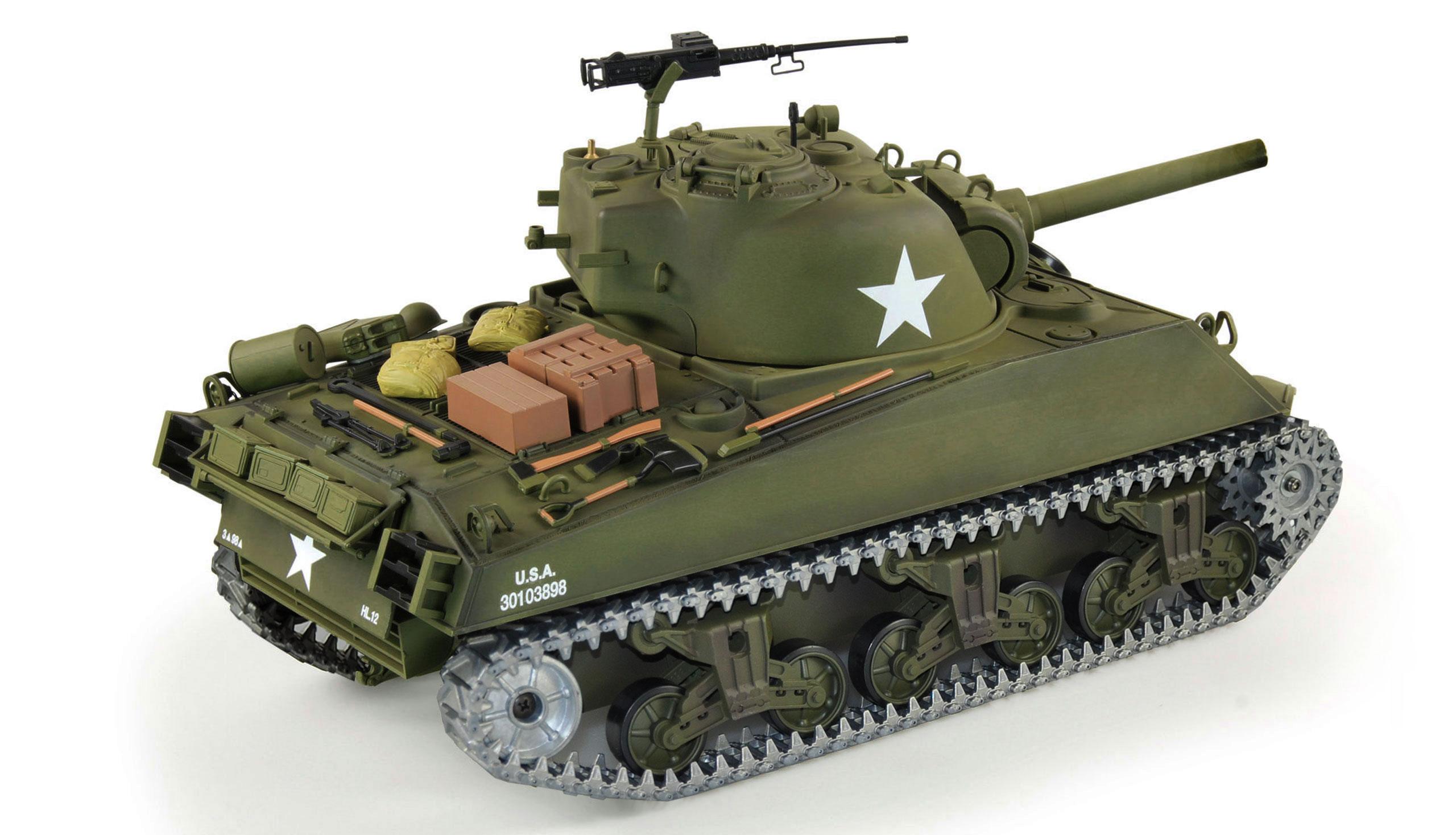 SHERMAN M4A3 BB+IR v kufru, 1:16, 2.4 GHz, zvuk, kouř, kovovvé převodovky a pásy, RTR