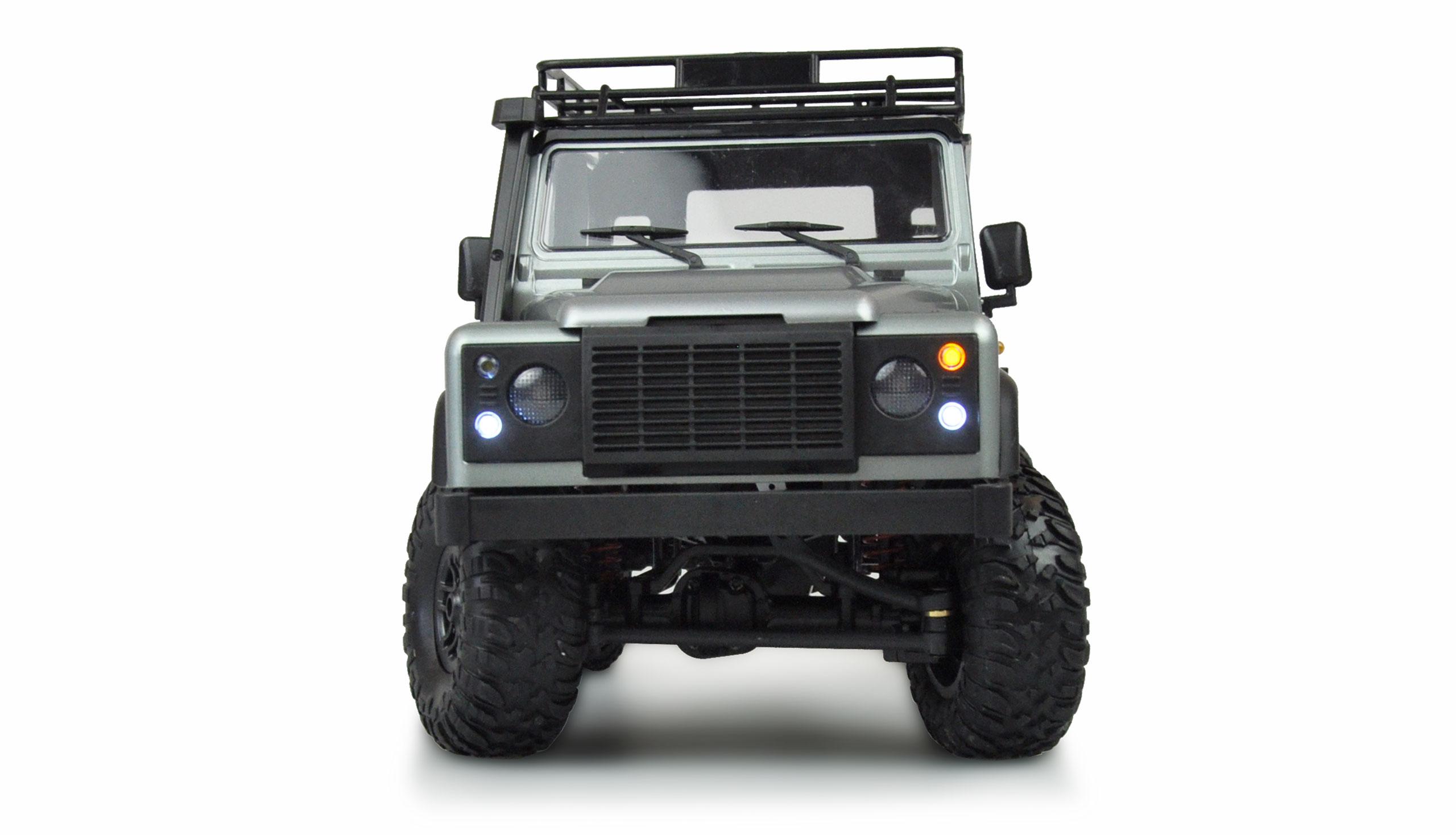 D90 Rock Crawler Defender 1:12, 4WD, 2,4 GHz, LED, plně proporcionální, RTR, stříbrná
