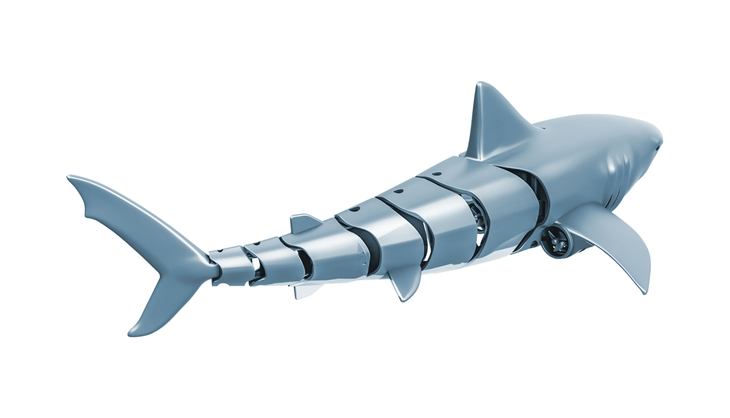 SHARKY, dálkově ovládaný žralok modrý, 4 kanály, dvě lodní turbíny, 2,4Ghz, RTR