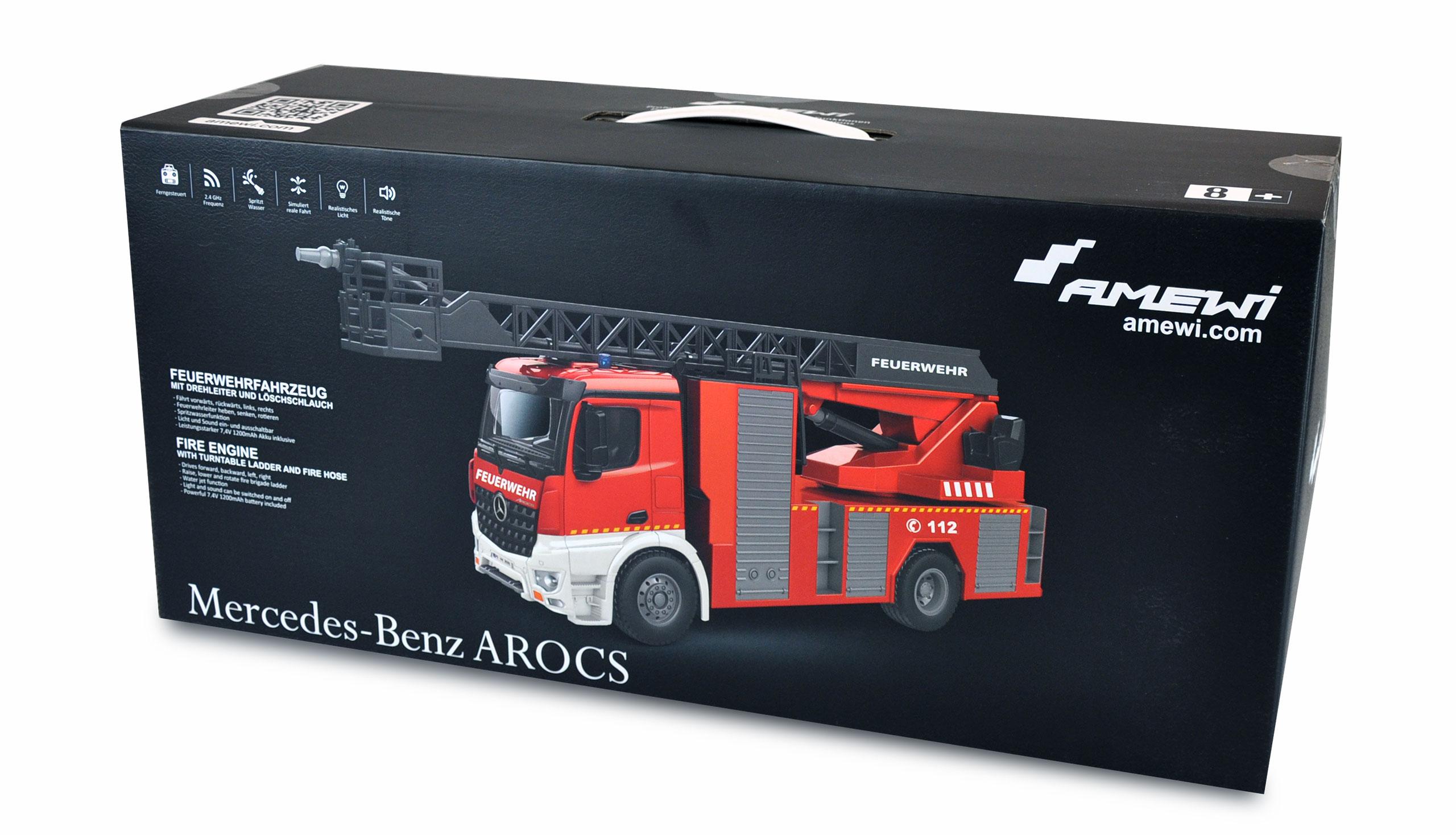 Mercedes-Benz Arocs licencovaný, 1:14, s žebříkem a stříkačkou, proporcionální, LED, zvuky