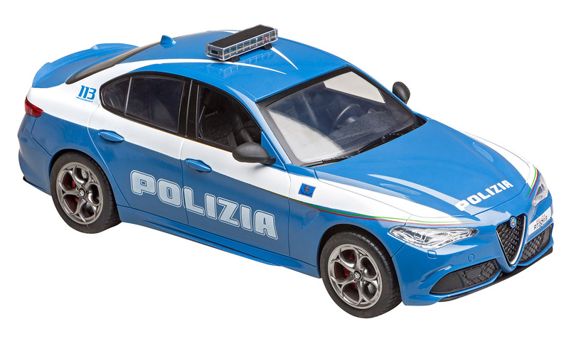RE.EL Toys Alfa Romeo Giulia Quadrifoglio Policie, licence 1:14, LED, 100% RTR