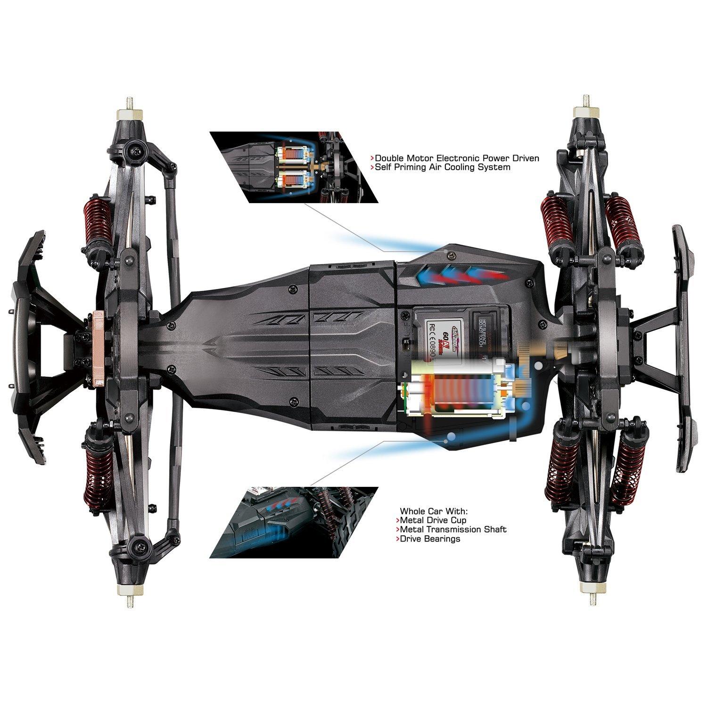 MonsterTruck 1:10, 2 motory, 46km/h+ s akupackem, IPX4