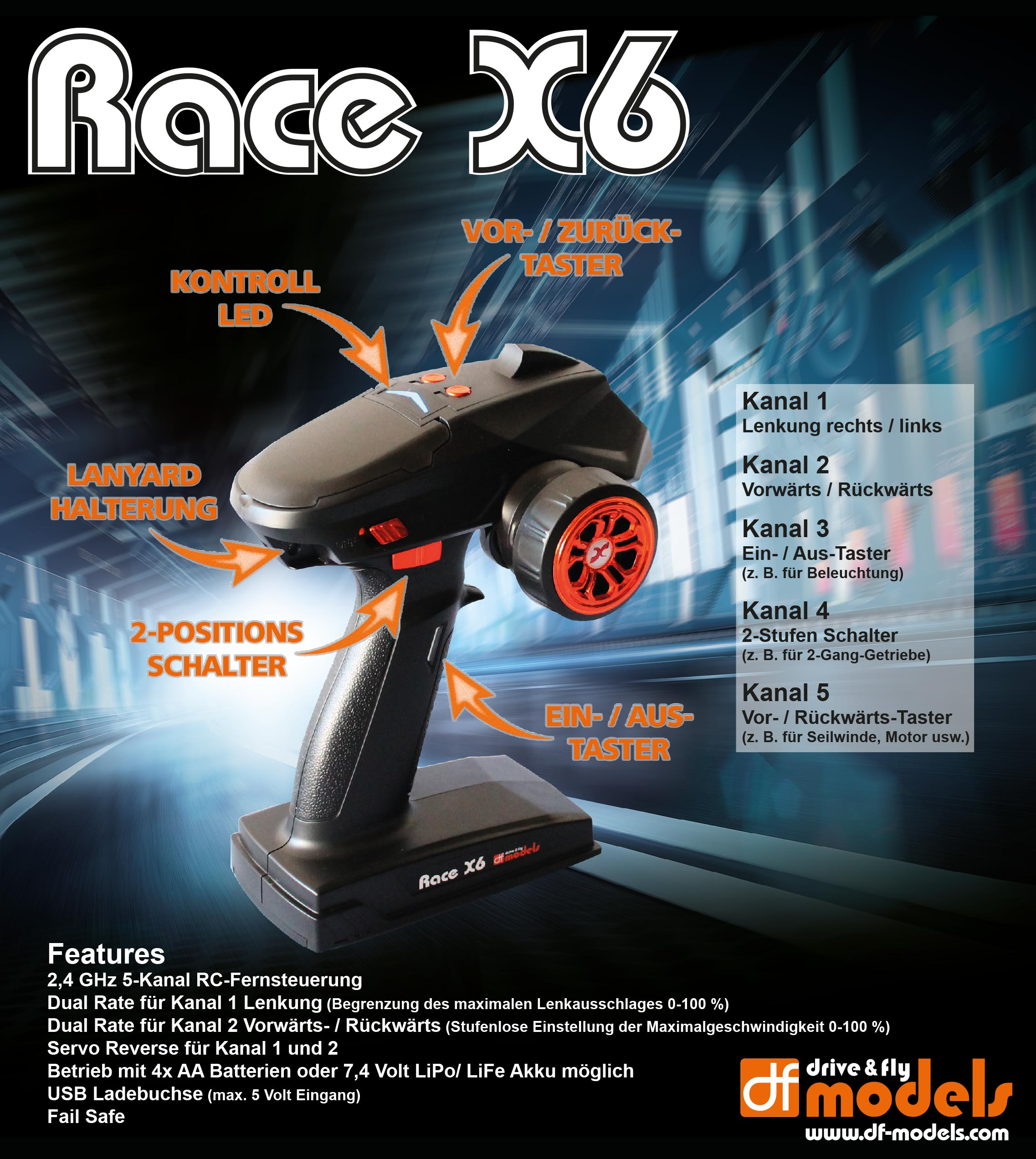 RACE X6 - 5ch RC souprava s Multi-Switch modulem