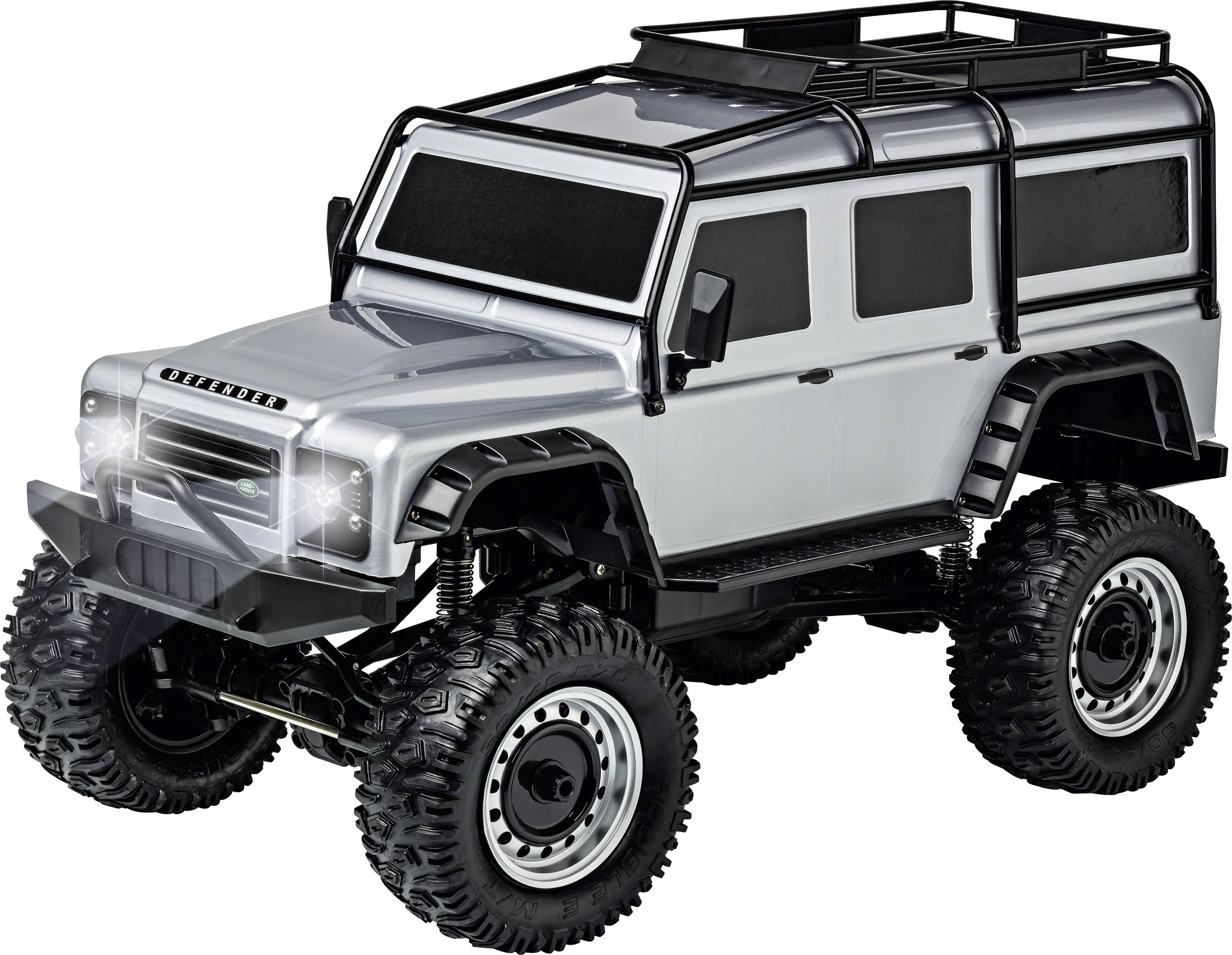 LAND ROVER DEFENDER Rock Crawler 4WD 1:8, stříbrná, 2,4 Ghz, LED
